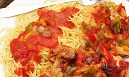 Cooked tomatoes sweeten this wonderful Chicken Cacciatore dinner.